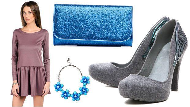 сиреневое платье с серыми туфлями